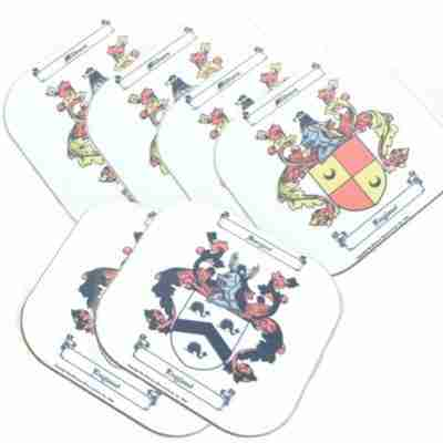 Coasters with Coat of Arms and Family Crest