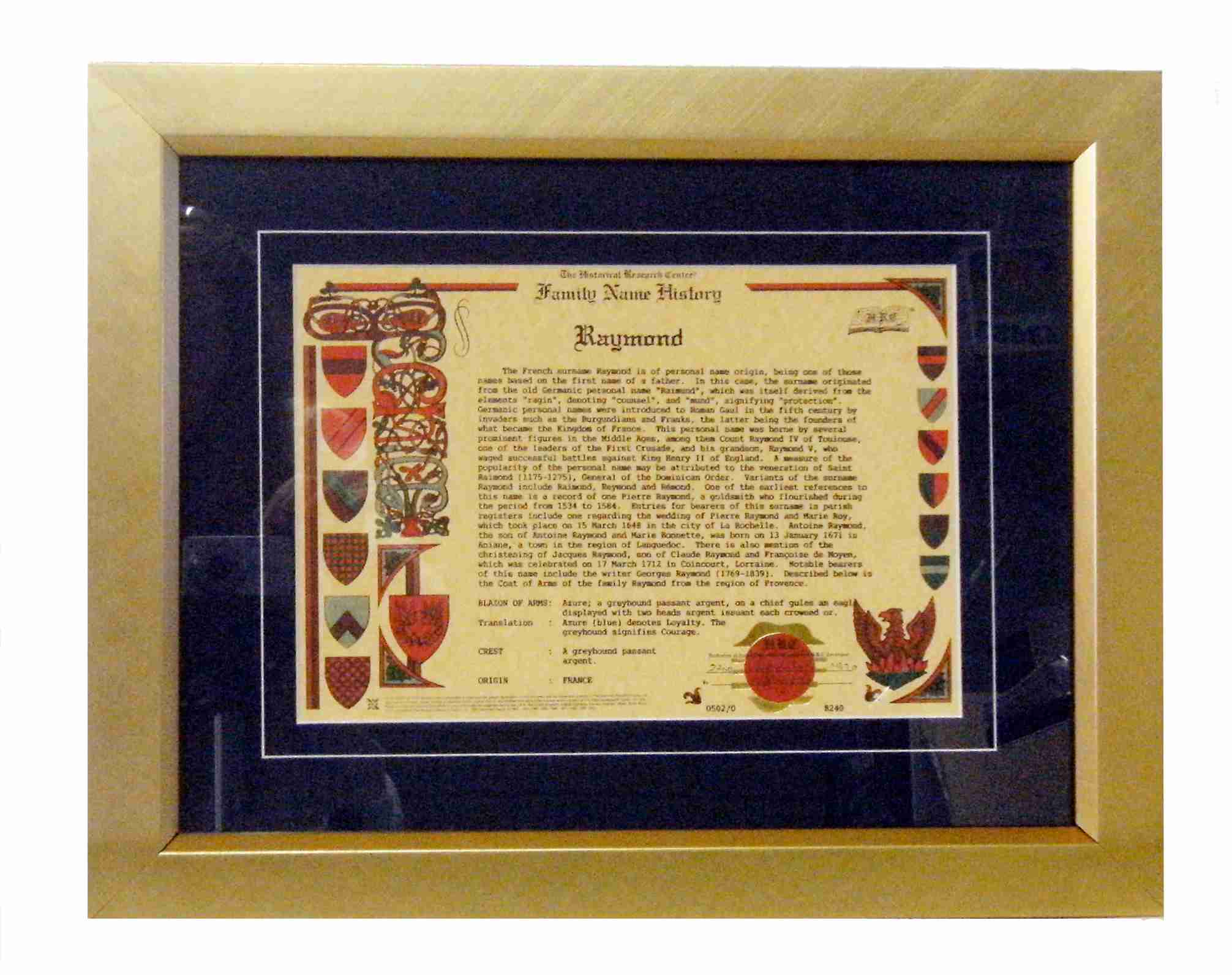 Family Name History Certificates | Coat of Arms and Family Names